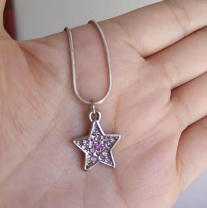 Coach Pave Star Charm Silver Plated Necklace